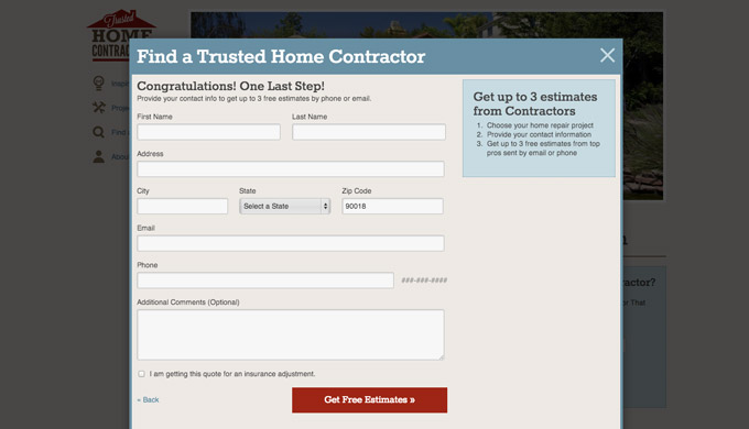 Modal web form on Trusted Home Contractors
